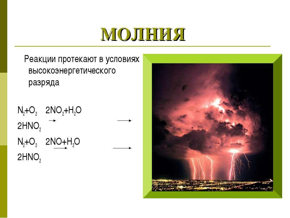 МОЛНИЯ Реакции протекают в условиях высокоэнергетического разряда N2+O2 2NO2+...