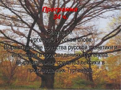 Программа 34 ч. Введение. Тургенев о русском слове. Выразительные средства ру...