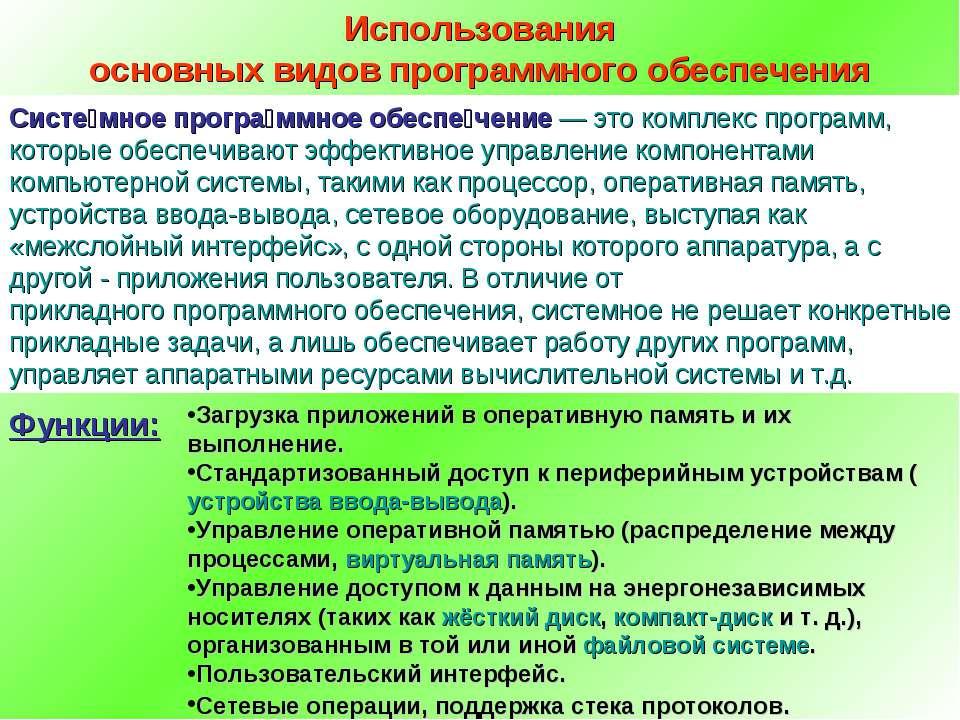Использования основных видов программного обеспечения Систе мное програ ммное...
