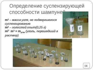 Определение суспензирующей способности шампуней 14 m1 – масса угля, не подвер...