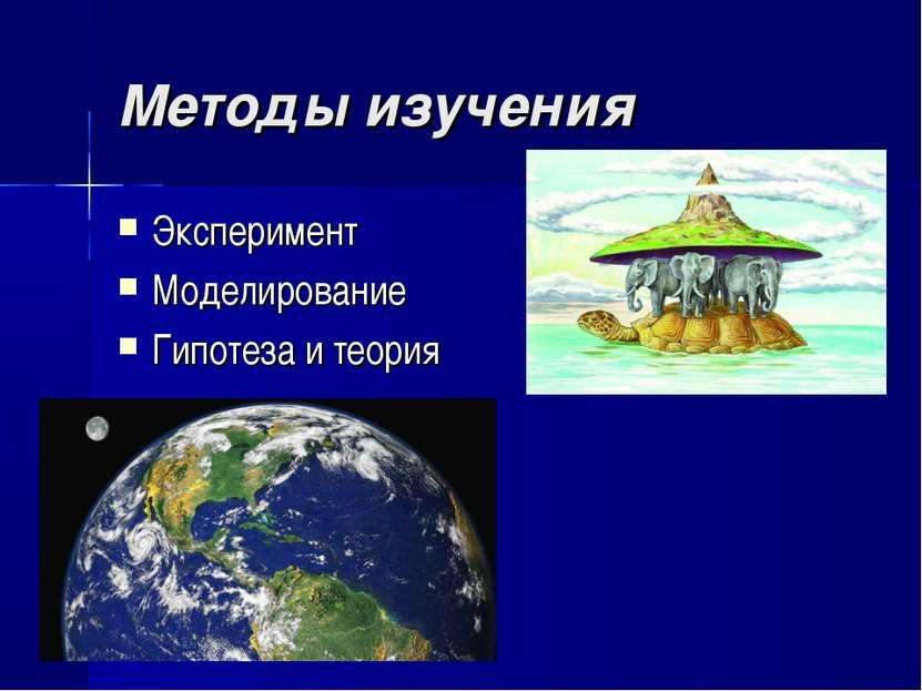 Методы изучения Эксперимент Моделирование Гипотеза и теория