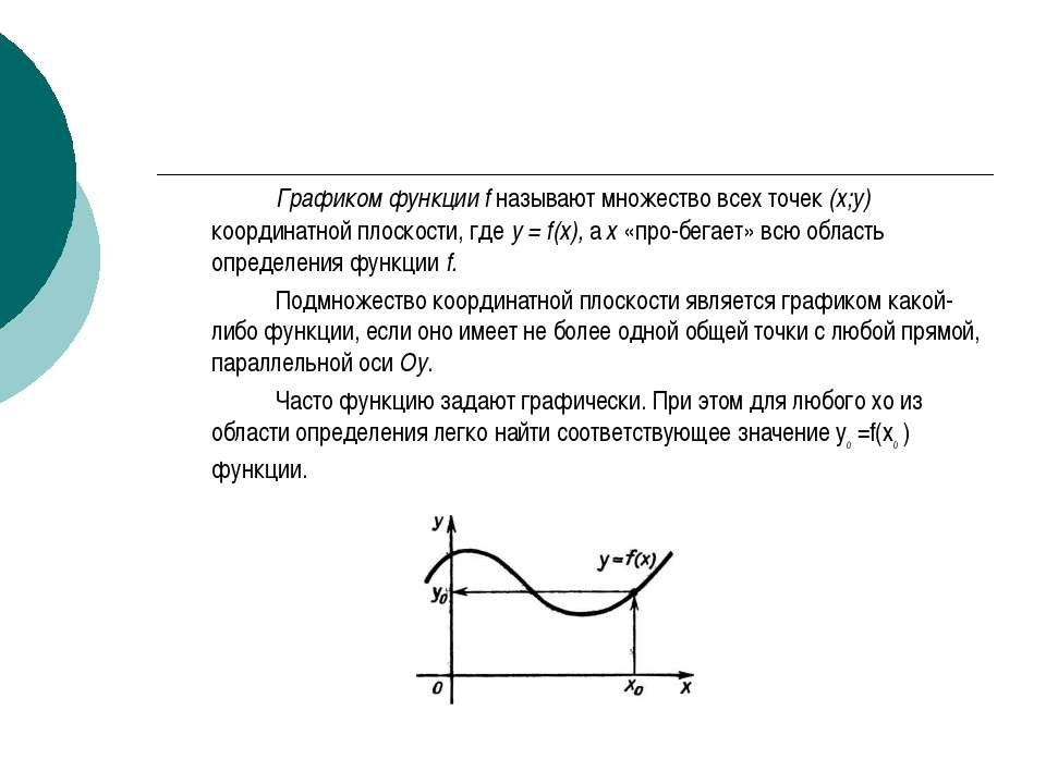 Графиком функции f называют множество всех точек (х;у) координатной плоскости...