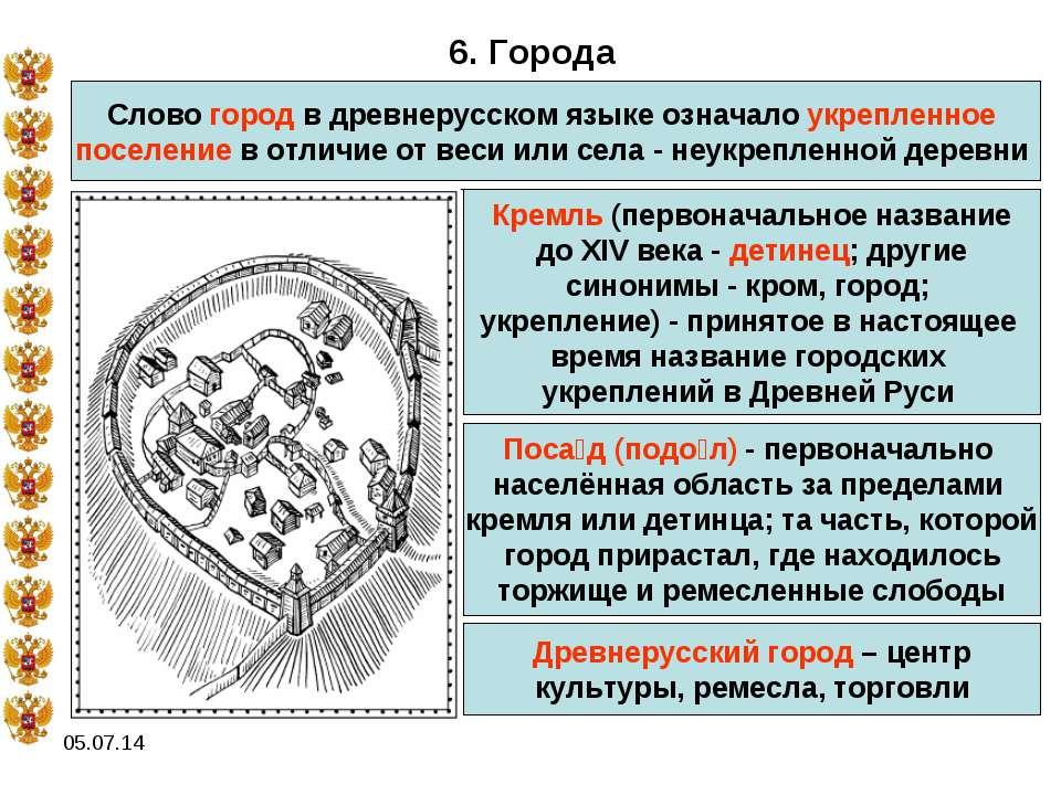 * 6. Города Слово город в древнерусском языке означало укрепленное поселение ...