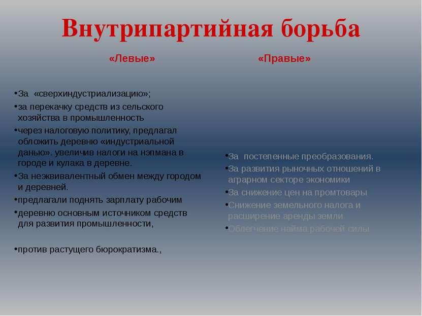 Внутрипартийная борьба За «сверхиндустриализацию»; за перекачку средств из се...