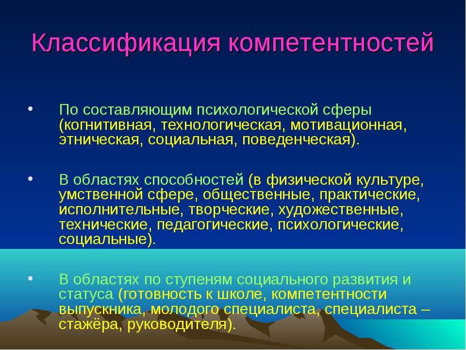 Классификация компетентностей По составляющим психологической сферы (когнитив...