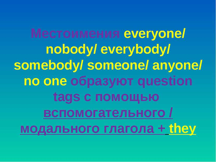 Местоимения everyone/ nobody/ everybody/ somebody/ someone/ anyone/ no one об...