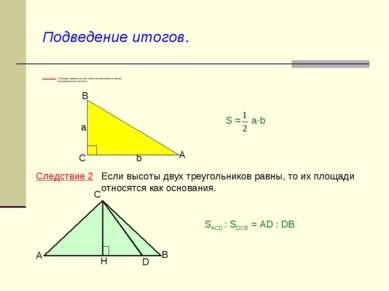 Подведение итогов. Следствие 1 Площадь прямоугольного треугольника равна поло...