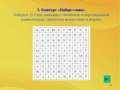 * 5. Конкурс «Найди слова». Найдите 12 слов, имеющих отношение к персональным...
