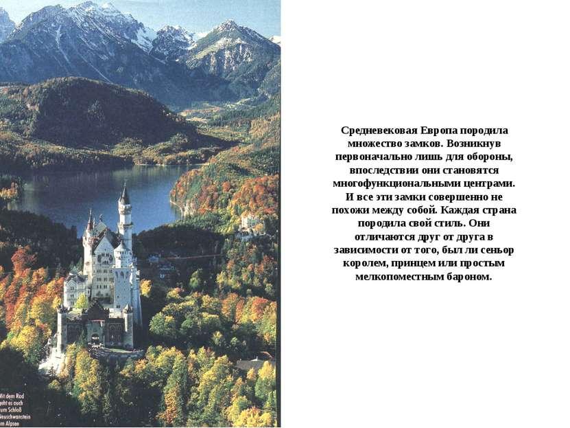 Средневековая Европа породила множество замков. Возникнув первоначально лишь ...