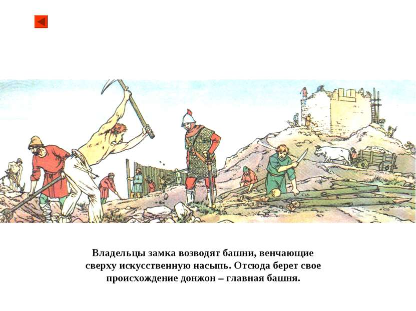 Владельцы замка возводят башни, венчающие сверху искусственную насыпь. Отсюда...