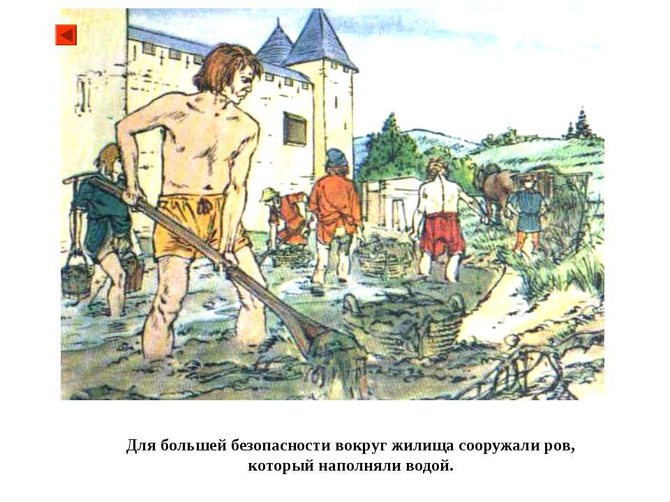 Для большей безопасности вокруг жилища сооружали ров, который наполняли водой.