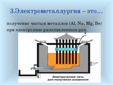 3.Электрометаллургия – это… получение чистых металлов (Al, Na, Mg, Be) при эл...