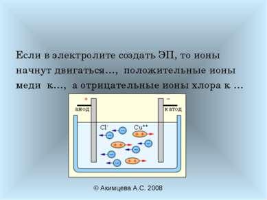 Если в электролите создать ЭП, то ионы начнут двигаться…, положительные ионы ...