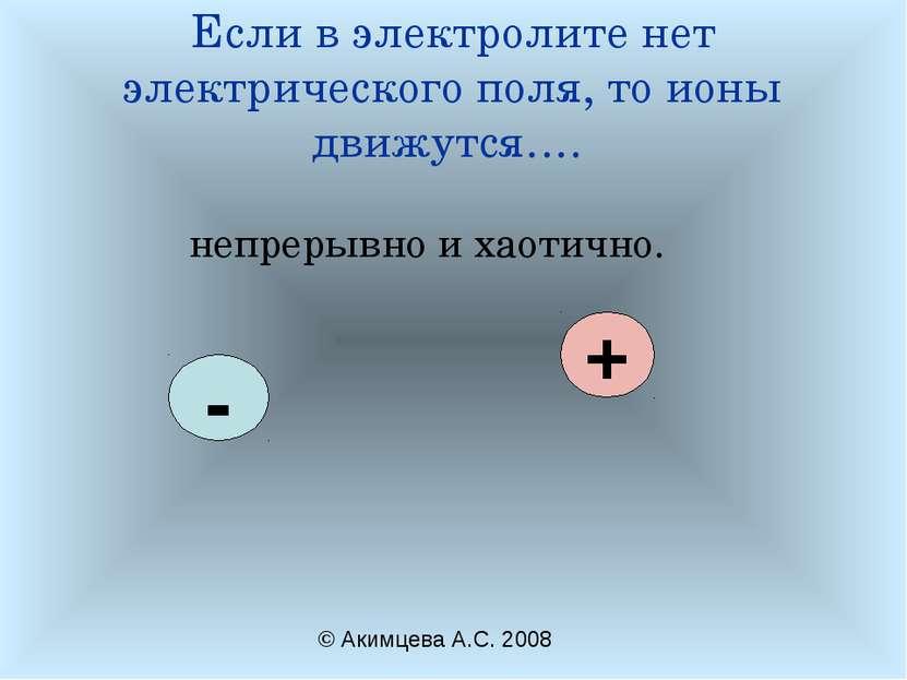 Если в электролите нет электрического поля, то ионы движутся…. непрерывно и х...