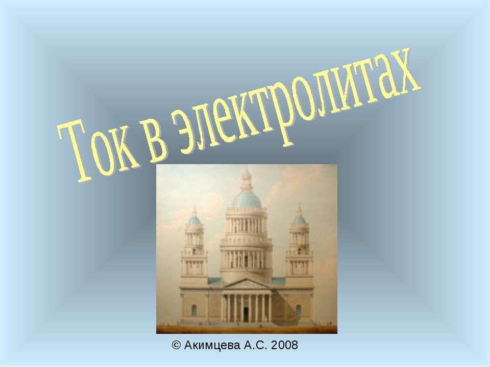 © Акимцева А.С. 2008