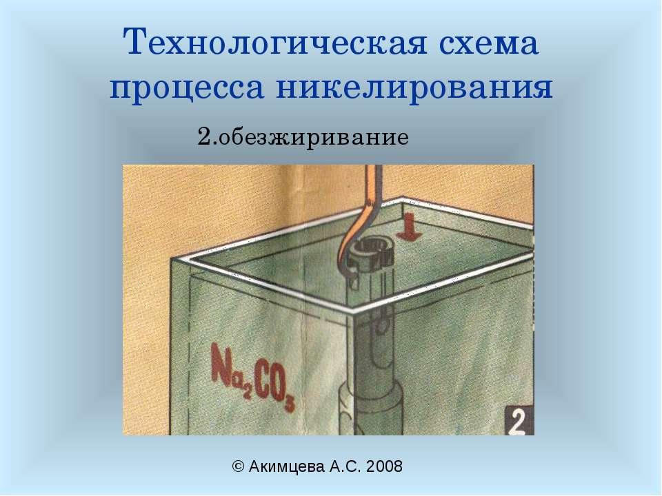 Технологическая схема процесса никелирования 2.обезжиривание © Акимцева А.С. ...