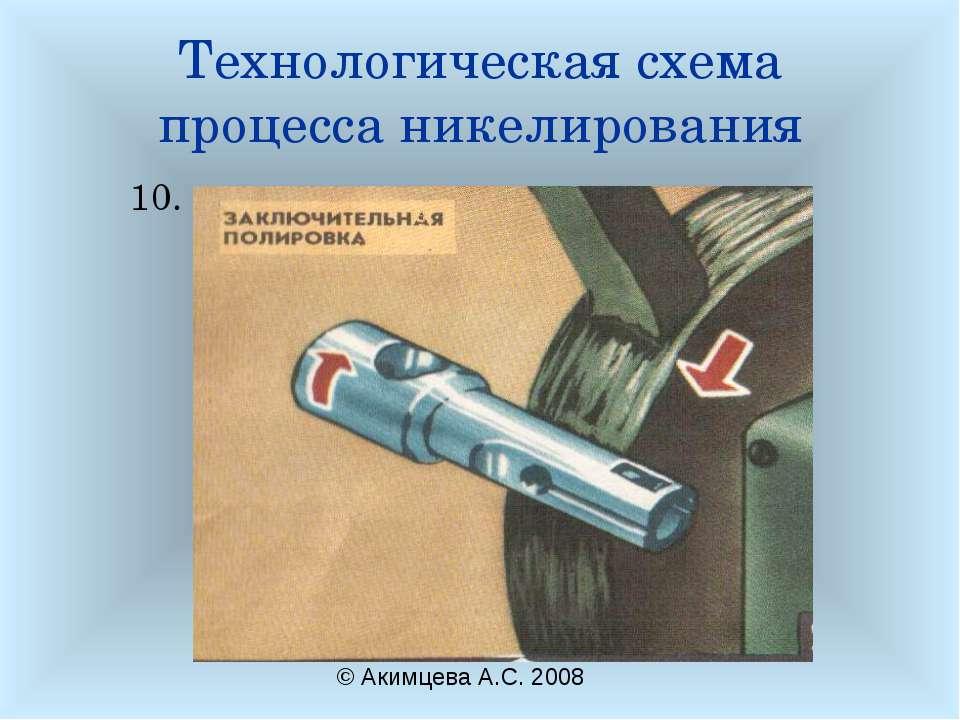 Технологическая схема процесса никелирования 10. © Акимцева А.С. 2008