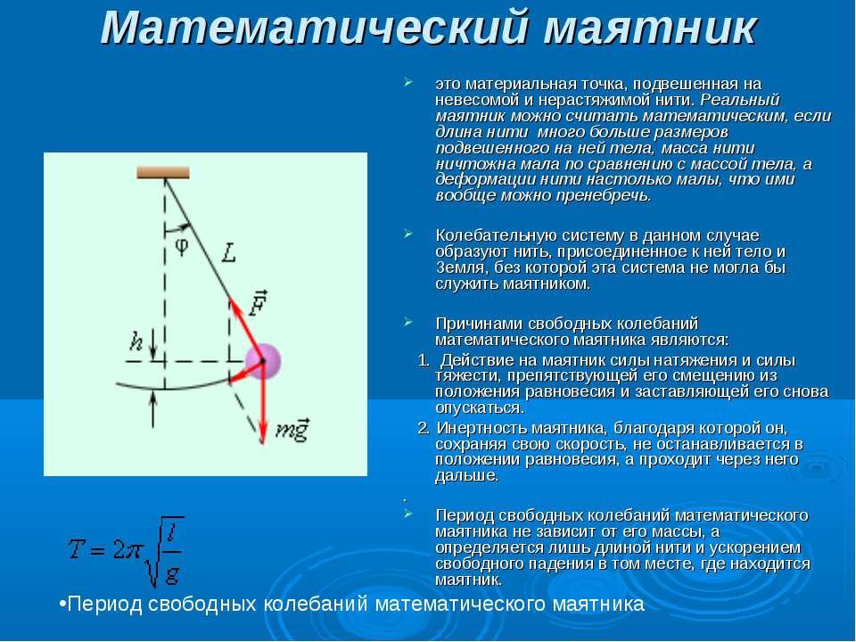 Математический маятник  это материальная точка, подвешенная на невесомой и н...