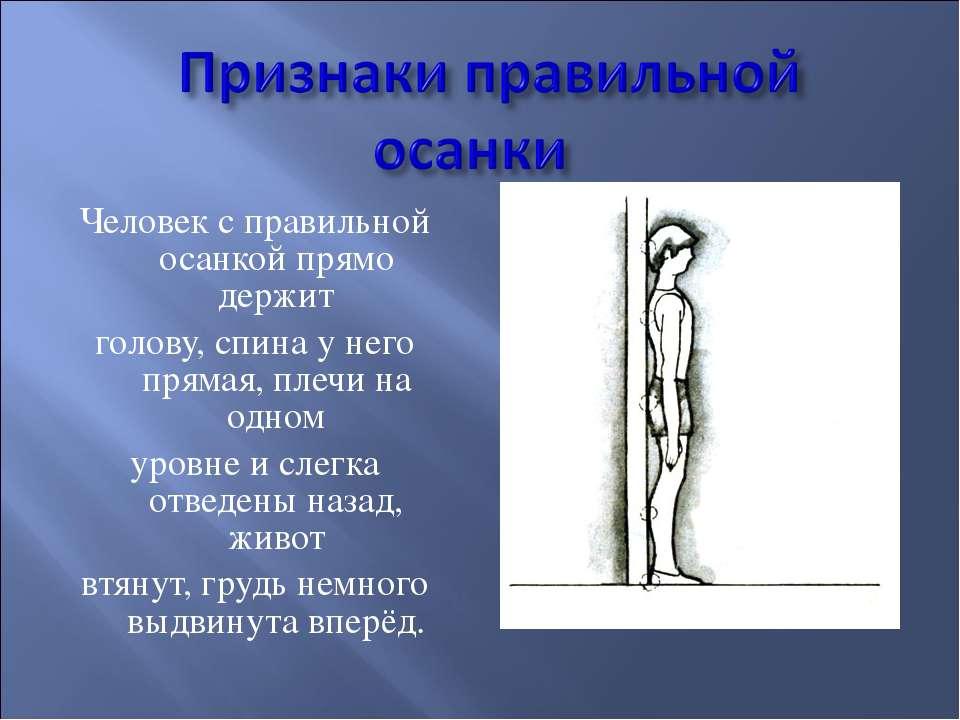 Человек с правильной осанкой прямо держит голову, спина у него прямая, плечи ...