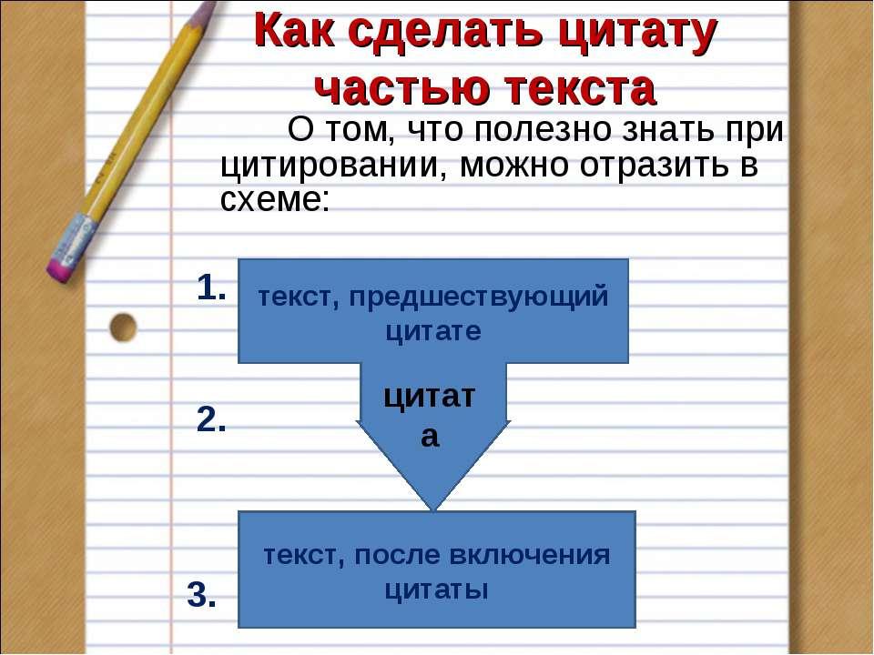 Как сделать цитату частью текста О том, что полезно знать при цитировании, мо...