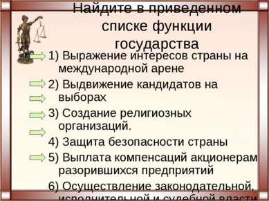 Найдите в приведенном списке функции государства 1) Выражение интересов стран...