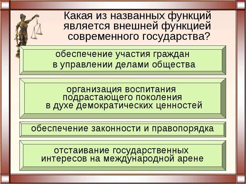 Какая из названных функций является внешней функцией современного государства...