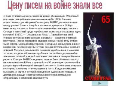В ходе Сталинградского сражения армию обслуживали 99 полевых почтовых станций...