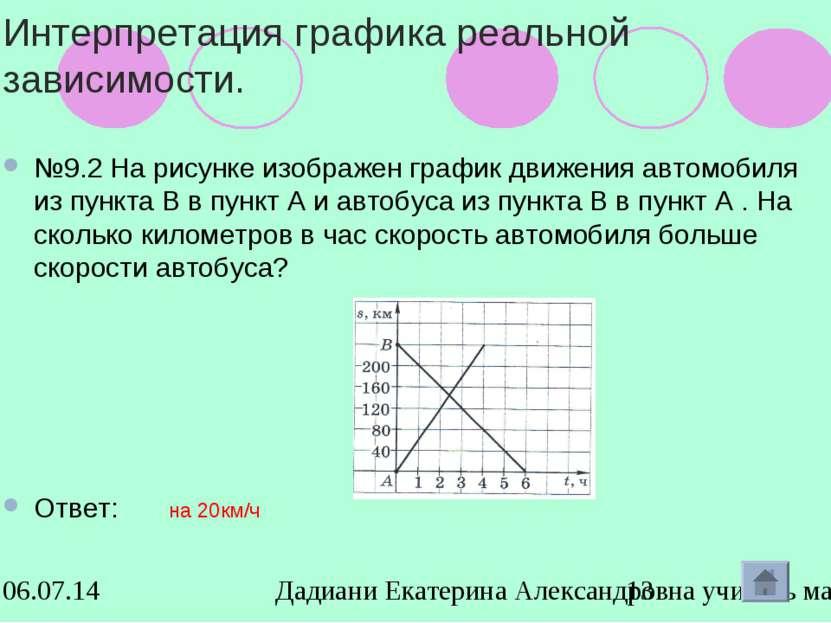 Интерпретация графика реальной зависимости. №9.2 На рисунке изображен график ...