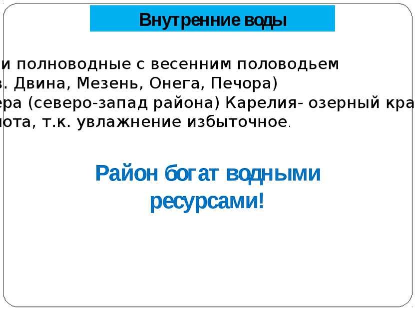 Внутренние воды Реки полноводные с весенним половодьем ( Сев. Двина, Мезень, ...