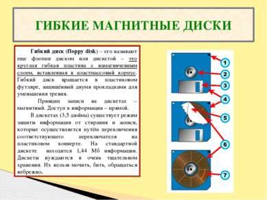 ГИБКИЕ МАГНИТНЫЕ ДИСКИ Гибкий диск (floppy disk) – его называют еще флоппи ди...