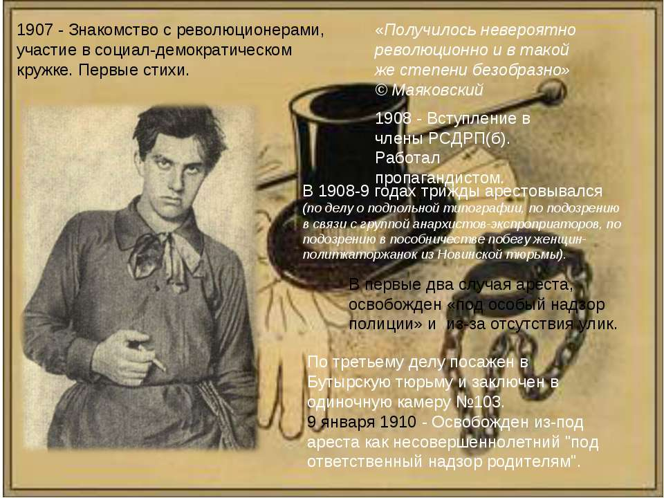 1908- Вступление в члены РСДРП(б). Работал пропагандистом. 1907- Знакомство...