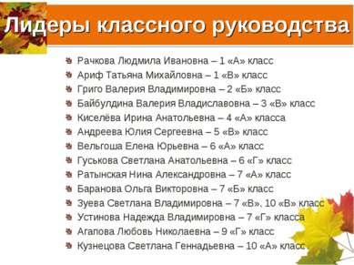 Лидеры классного руководства Рачкова Людмила Ивановна – 1 «А» класс Ариф Тать...