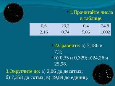 1.Прочитайте числа в таблице: 2.Сравните: а) 7,186 и 7,2; б) 0,35 и 0,329; в)...