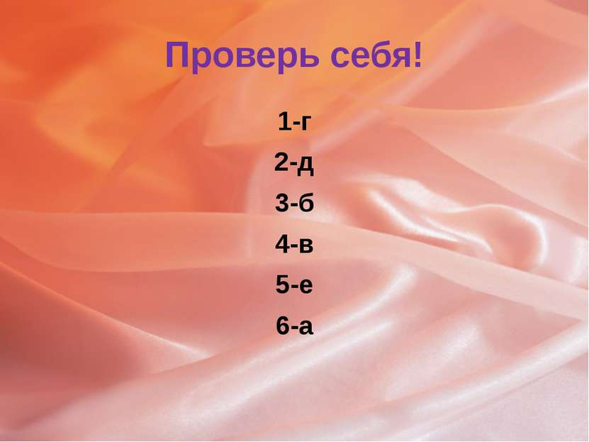Проверь себя! 1-г 2-д 3-б 4-в 5-е 6-а