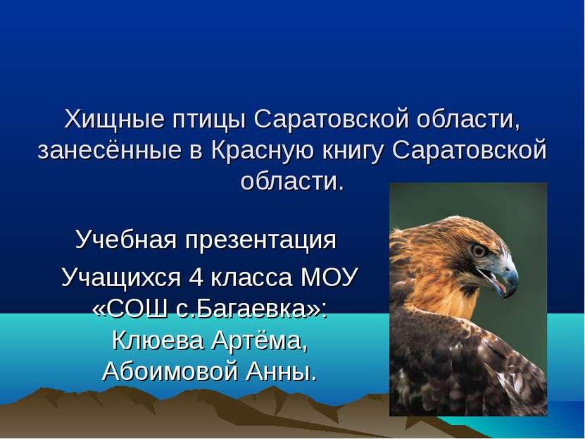 Хищные птицы Саратовской области, занесённые в Красную книгу Саратовской обла...