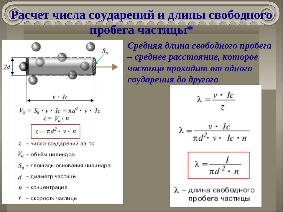 Расчет числа соударений и длины свободного пробега частицы* Средняя длина сво...