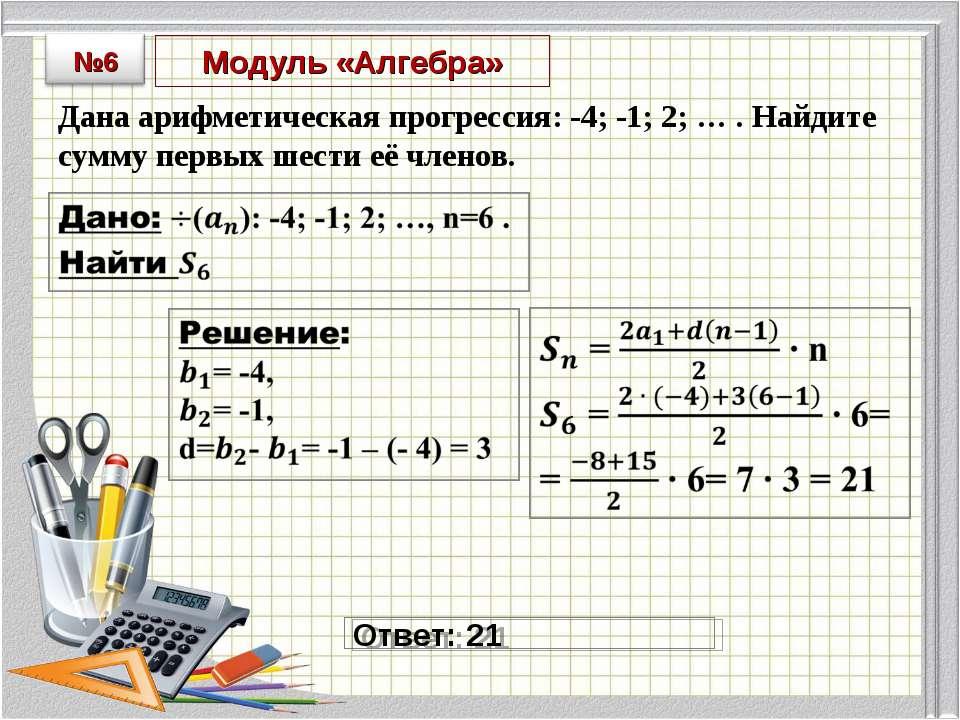 Модуль «Алгебра» Дана арифметическая прогрессия: -4; -1; 2; … . Найдите сумму...