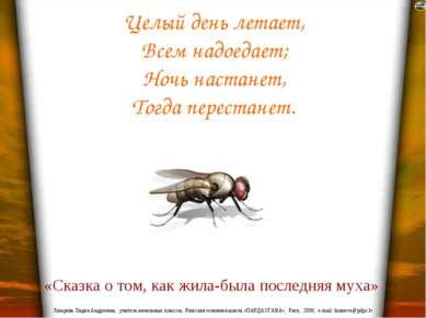 Целый день летает, Всем надоедает; Ночь настанет, Тогда перестанет. «Сказка о...