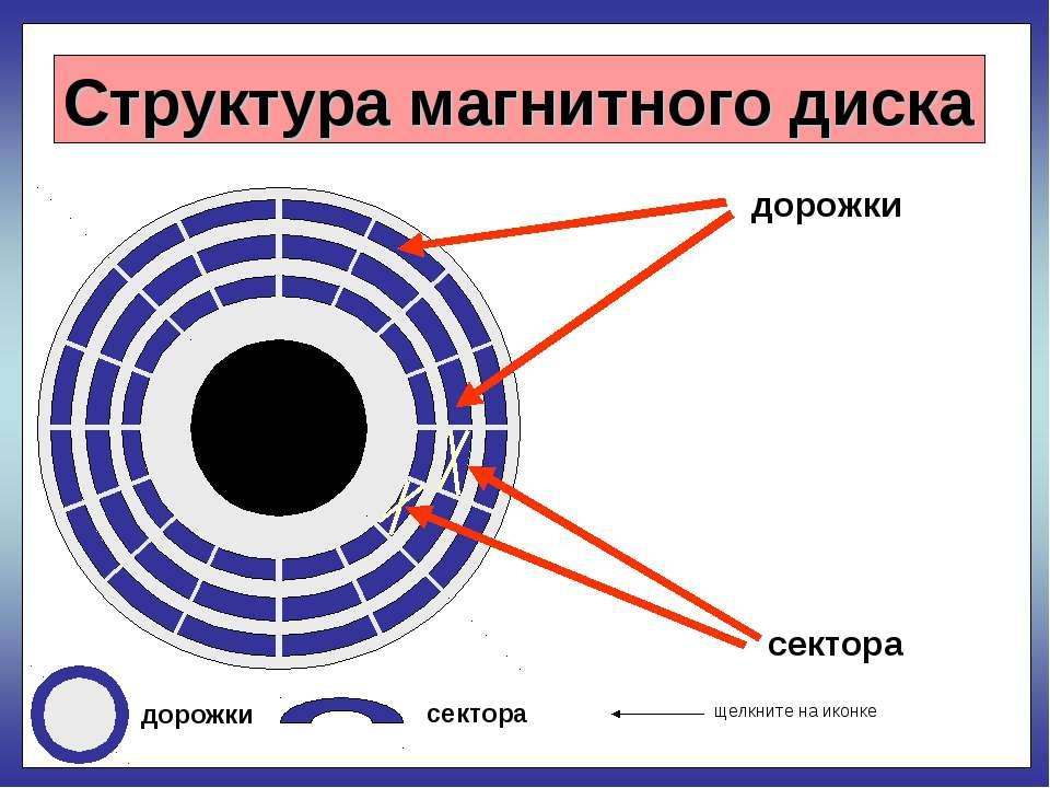 Структура магнитного диска дорожки сектора