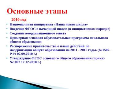 2010 год Национальная инициатива «Наша новая школа» Введение ФГОС в начальной...