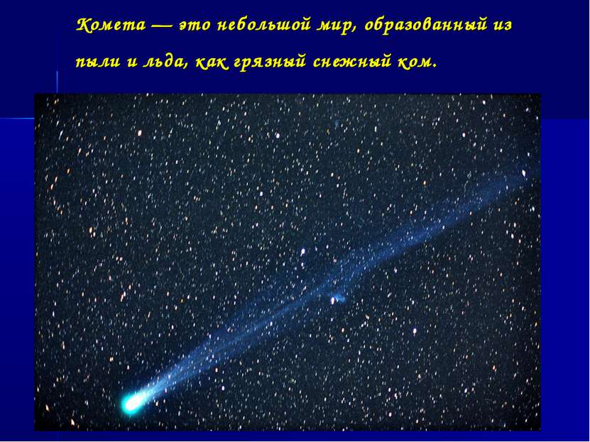 Комета — это небольшой мир, образованный из пыли и льда, как грязный снежный ...