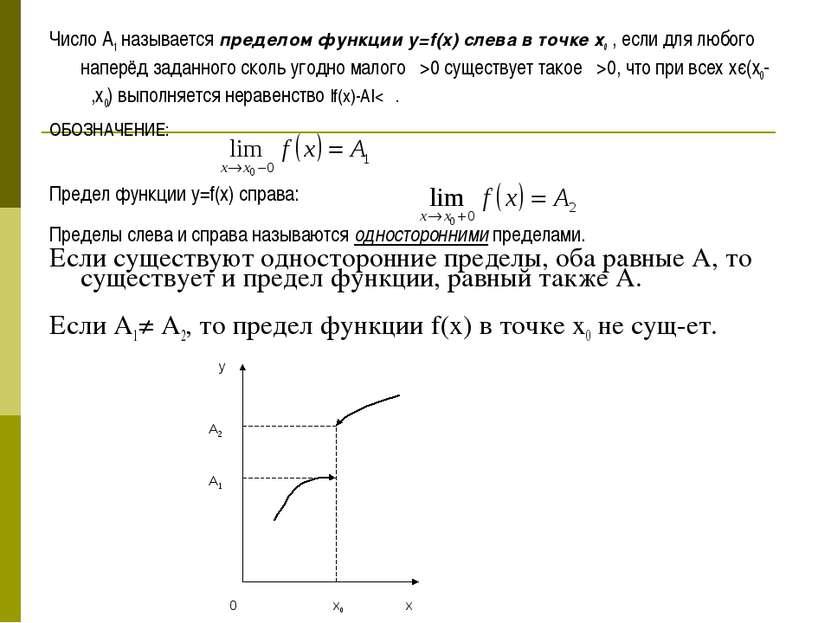 Число A1 называется пределом функции y=f(x) слева в точке х0 , если для любог...