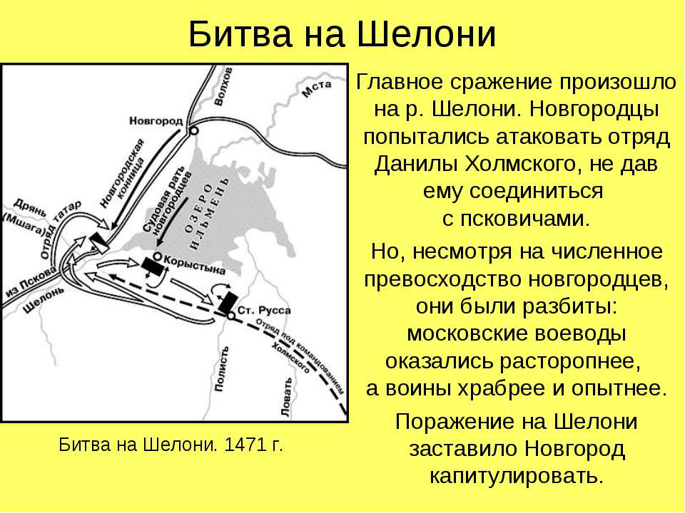 Битва на Шелони Главное сражение произошло на р. Шелони. Новгородцы попыталис...