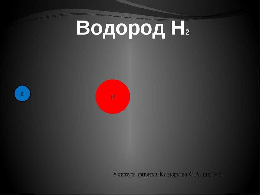 Водород H2 P ē Учитель физики Козьякова С.А. шк.341.