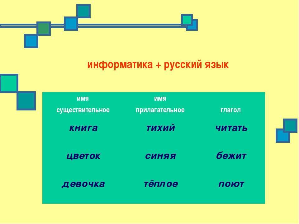 информатика + русский язык