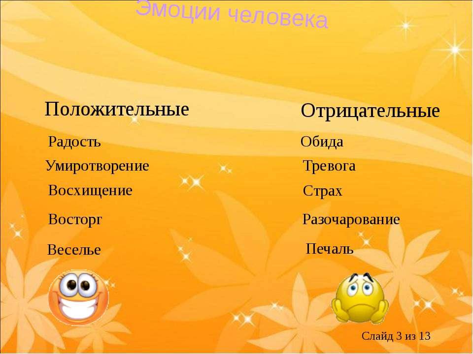 Эмоции человека Положительные Отрицательные Радость Умиротворение Восхищение ...