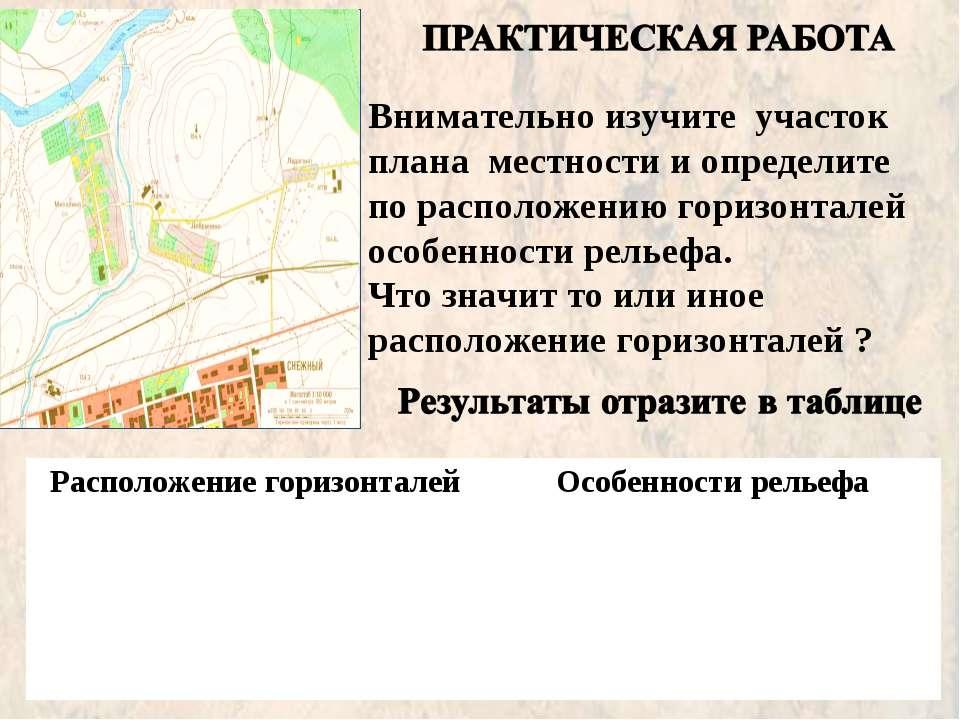Внимательно изучите участок плана местности и определите по расположению гори...