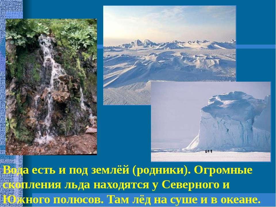 Вода есть и под землёй (родники). Огромные скопления льда находятся у Северно...