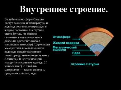 Внутреннее строение. В глубине атмосферы Сатурна растут давление и температур...