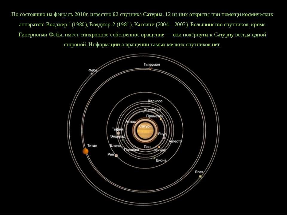 По состоянию на февраль 2010г. известно 62 спутника Сатурна. 12 из них открыт...